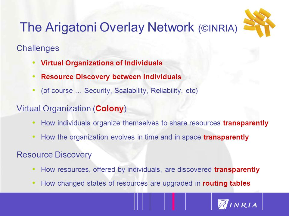 6 The Arigatoni Overlay Network (©INRIA) Challenges Virtual Organizations of Individuals Resource Discovery between Individuals (of course … Security, Scalability, Reliability, etc) Virtual Organization (Colony) How individuals organize themselves to share resources transparently How the organization evolves in time and in space transparently Resource Discovery How resources, offered by individuals, are discovered transparently How changed states of resources are upgraded in routing tables