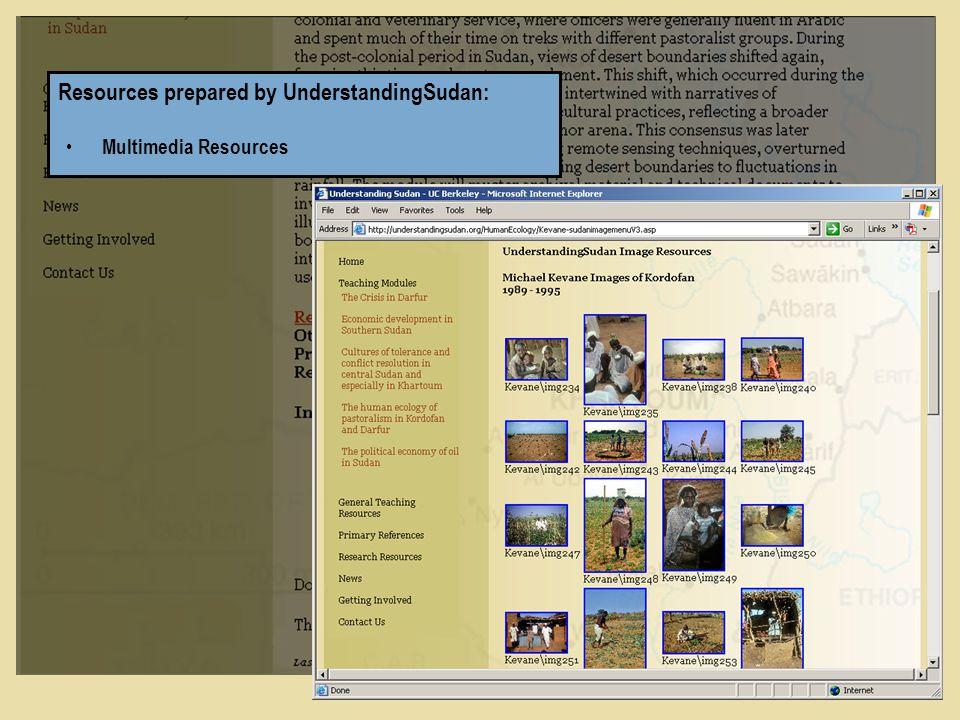 Resources prepared by UnderstandingSudan: Multimedia Resources