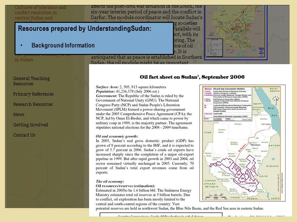 Resources prepared by UnderstandingSudan: Background Information