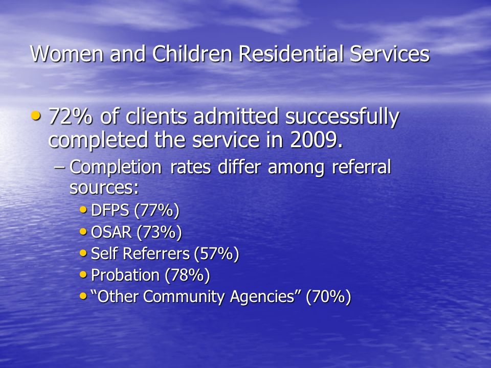 Women and Children Residential Services 72% of clients admitted successfully completed the service in 2009.