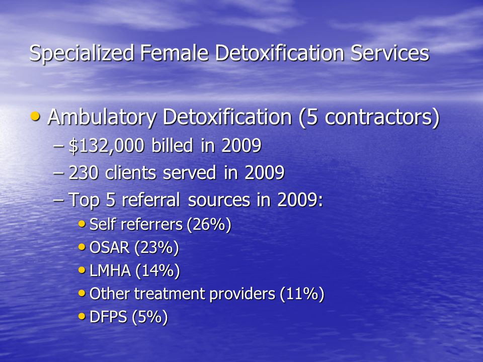 Specialized Female Detoxification Services Ambulatory Detoxification (5 contractors) Ambulatory Detoxification (5 contractors) –$132,000 billed in 2009 –230 clients served in 2009 –Top 5 referral sources in 2009: Self referrers (26%) Self referrers (26%) OSAR (23%) OSAR (23%) LMHA (14%) LMHA (14%) Other treatment providers (11%) Other treatment providers (11%) DFPS (5%) DFPS (5%)