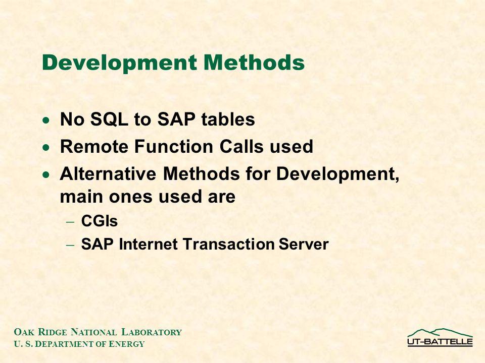 O AK R IDGE N ATIONAL L ABORATORY U. S. D EPARTMENT OF E NERGY Development Methods  No SQL to SAP tables  Remote Function Calls used  Alternative M