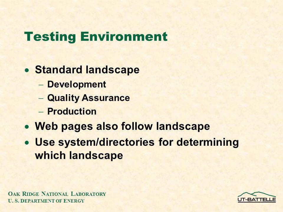O AK R IDGE N ATIONAL L ABORATORY U. S. D EPARTMENT OF E NERGY Testing Environment  Standard landscape  Development  Quality Assurance  Production