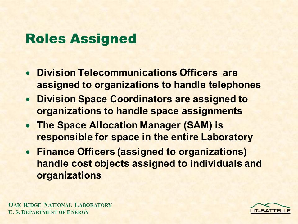 O AK R IDGE N ATIONAL L ABORATORY U. S. D EPARTMENT OF E NERGY Roles Assigned  Division Telecommunications Officers are assigned to organizations to