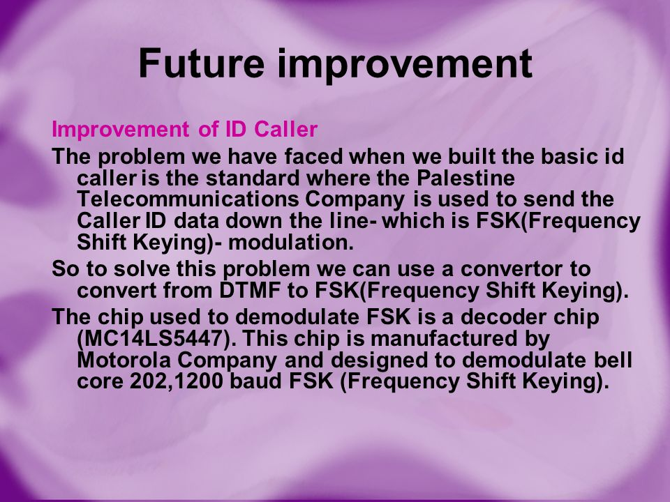 Future improvement Improvement of ID Caller The problem we have faced when we built the basic id caller is the standard where the Palestine Telecommun