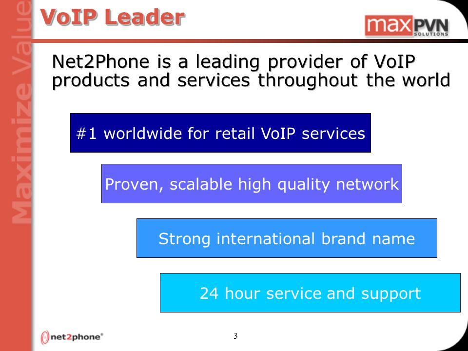 3 VoIP Leader Net2Phone is a leading provider of VoIP products and services throughout the world 24 hour service and support Strong international brand name Proven, scalable high quality network #1 worldwide for retail VoIP services