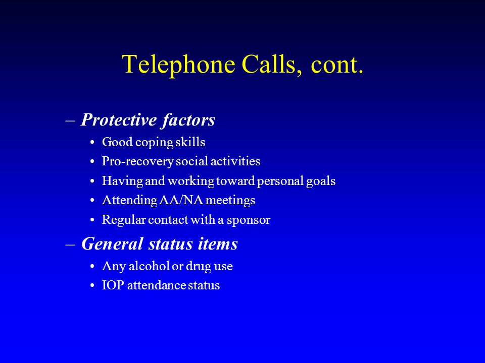 Telephone Calls, cont.