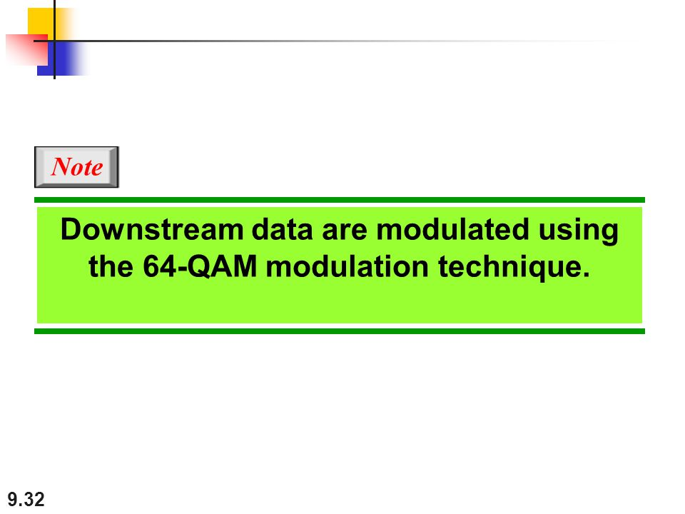 9.32 Downstream data are modulated using the 64-QAM modulation technique. Note