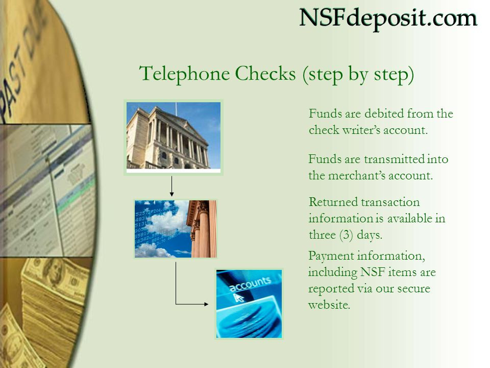 NSFdeposit.com Overview Improved receivables by as much as 37% Access your files anytime, anywhere Increased organization and control, less paper record keeping Offers convenience and security with 128 bit encryption technology, unique user ID and password No additional equipment to purchase No expensive software for you to buy No special training for your merchant