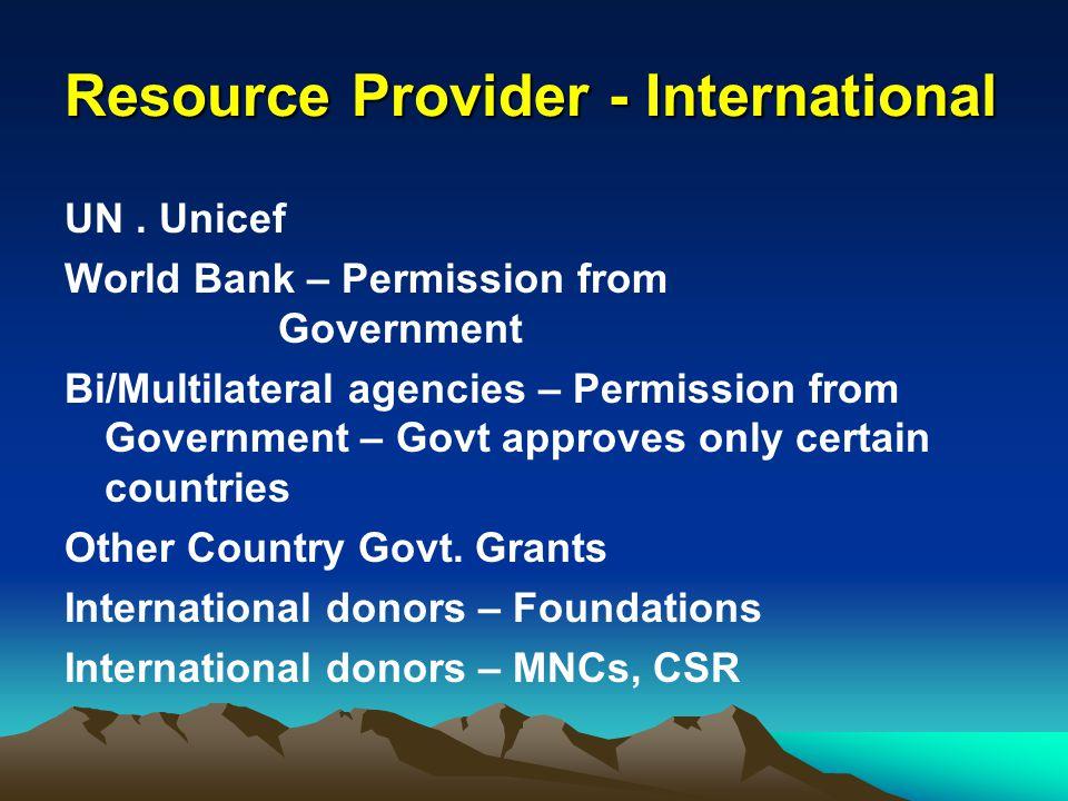 Resource Provider - International UN. Unicef World Bank – Permission from Government Bi/Multilateral agencies – Permission from Government – Govt appr