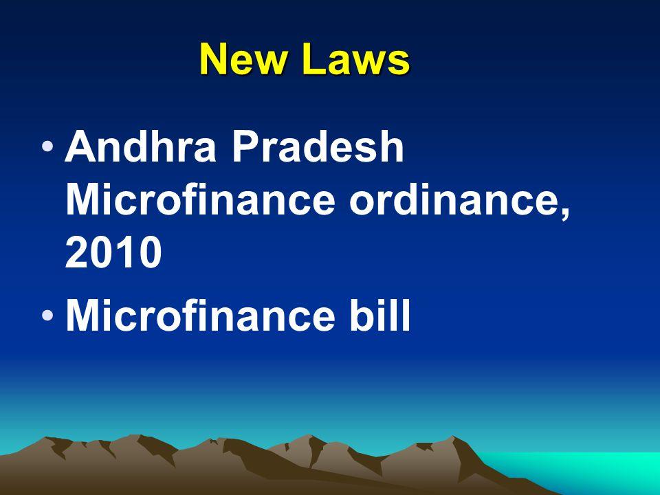 New Laws Andhra Pradesh Microfinance ordinance, 2010 Microfinance bill