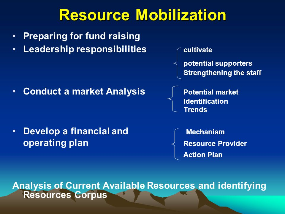 Resource Mobilization Preparing for fund raising Leadership responsibilities cultivate potential supporters Strengthening the staff Conduct a market A