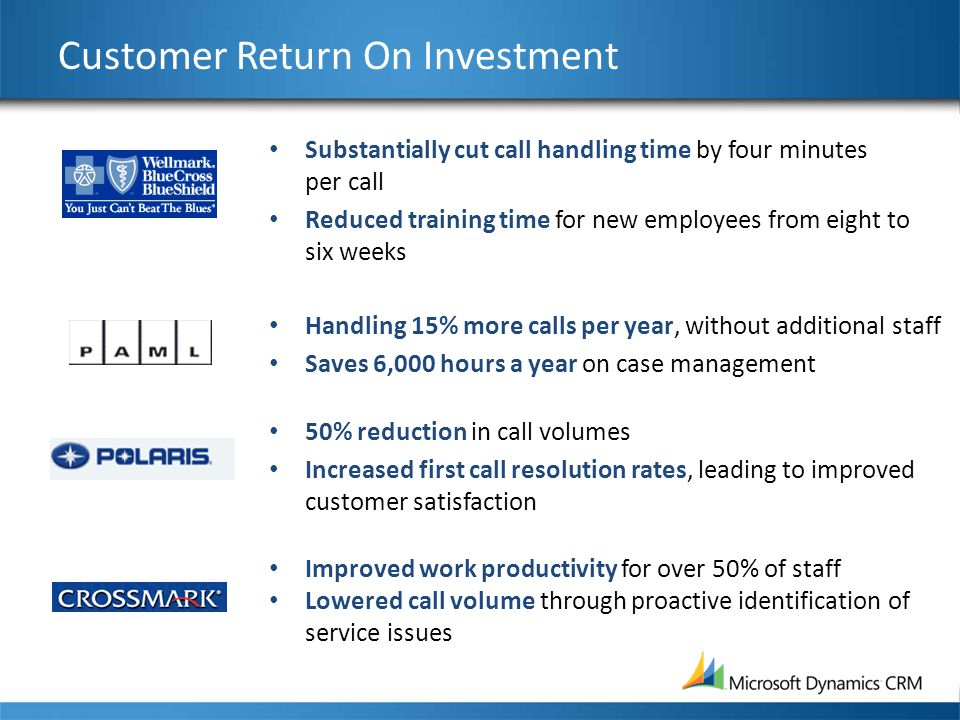 Customer Return On Investment Substantially cut call handling time by four minutes per call Reduced training time for new employees from eight to six