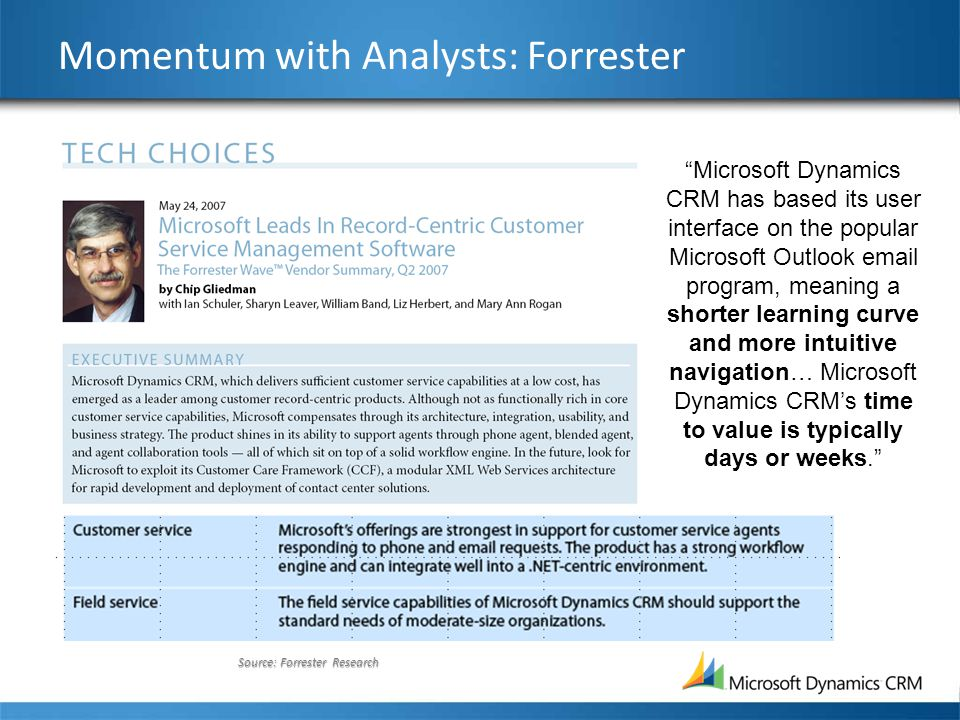 "Source: Forrester Research Momentum with Analysts: Forrester ""Microsoft Dynamics CRM has based its user interface on the popular Microsoft Outlook ema"