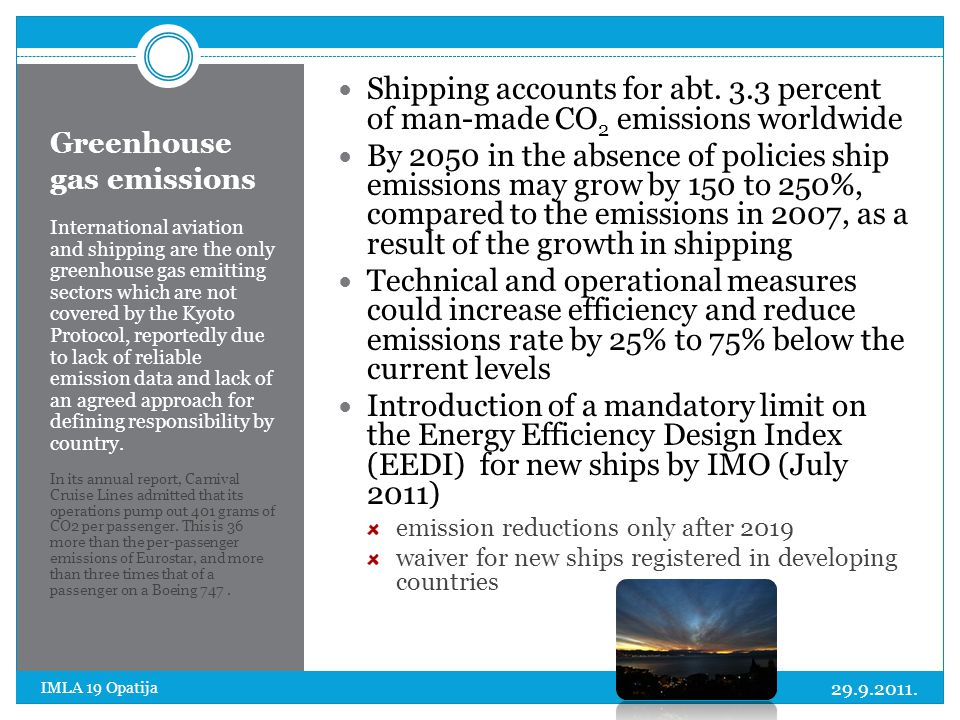 Greenhouse gas emissions International aviation and shipping are the only greenhouse gas emitting sectors which are not covered by the Kyoto Protocol,