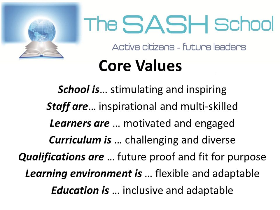 Core Values School is… stimulating and inspiring Staff are… inspirational and multi-skilled Learners are … motivated and engaged Curriculum is … challenging and diverse Qualifications are … future proof and fit for purpose Learning environment is … flexible and adaptable Education is … inclusive and adaptable