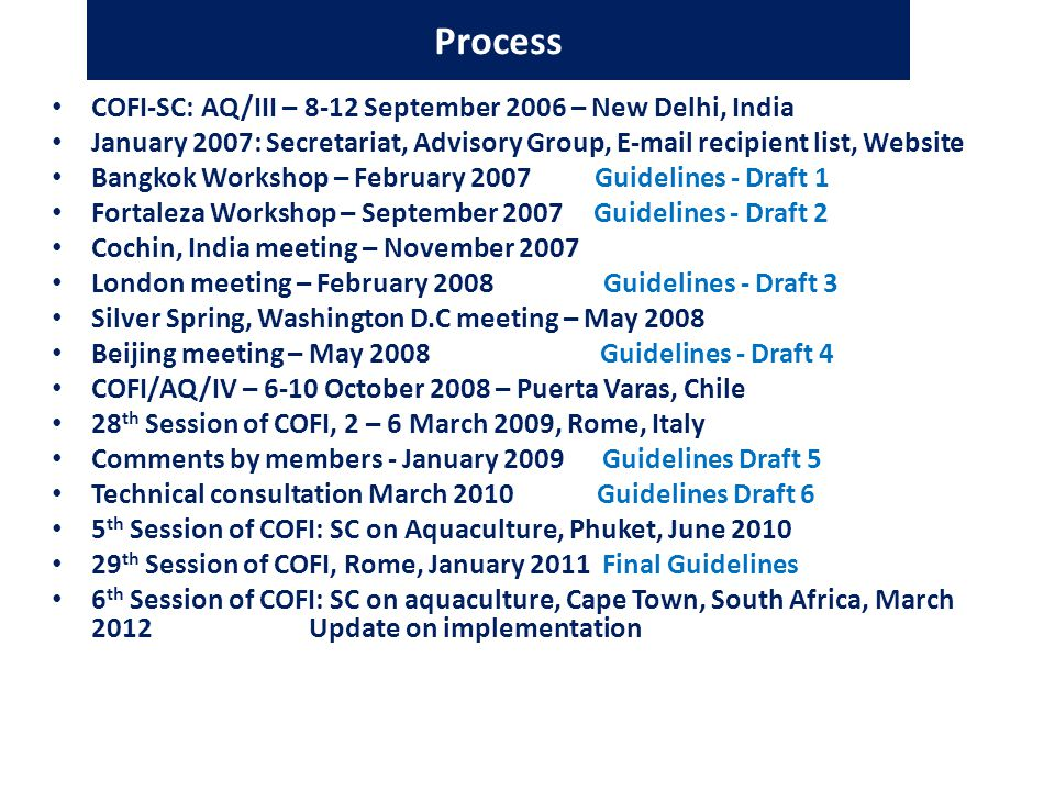 Process COFI-SC: AQ/III – 8-12 September 2006 – New Delhi, India January 2007: Secretariat, Advisory Group,  recipient list, Website Bangkok Workshop – February 2007 Guidelines - Draft 1 Fortaleza Workshop – September 2007 Guidelines - Draft 2 Cochin, India meeting – November 2007 London meeting – February 2008 Guidelines - Draft 3 Silver Spring, Washington D.C meeting – May 2008 Beijing meeting – May 2008 Guidelines - Draft 4 COFI/AQ/IV – 6-10 October 2008 – Puerta Varas, Chile 28 th Session of COFI, 2 – 6 March 2009, Rome, Italy Comments by members - January 2009 Guidelines Draft 5 Technical consultation March 2010 Guidelines Draft 6 5 th Session of COFI: SC on Aquaculture, Phuket, June th Session of COFI, Rome, January 2011 Final Guidelines 6 th Session of COFI: SC on aquaculture, Cape Town, South Africa, March 2012 Update on implementation