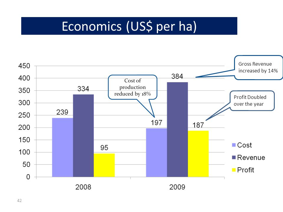 Economics (US$ per ha) Profit Doubled over the year Gross Revenue increased by 14% 42