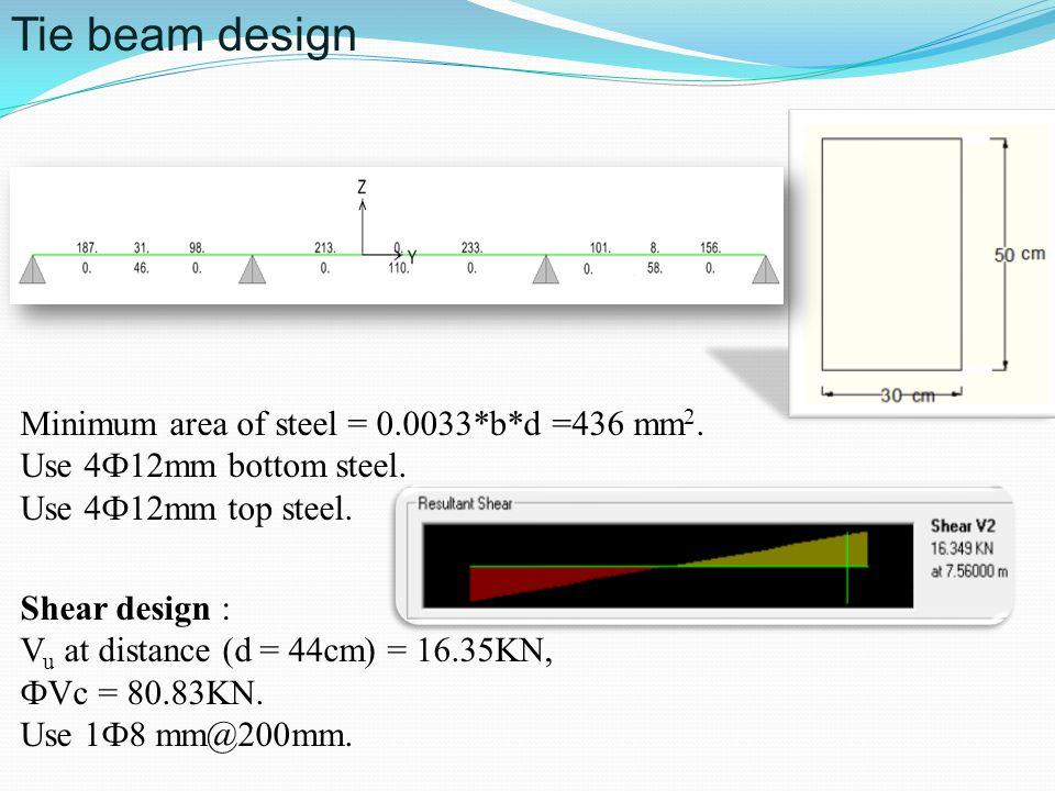 Tie beam design Minimum area of steel = 0.0033*b*d =436 mm 2. Use 4Ф12mm bottom steel. Use 4Ф12mm top steel. Shear design : V u at distance (d = 44cm)