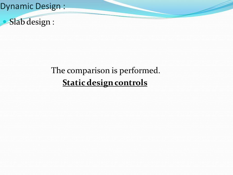Slab design : The comparison is performed. Static design controls Dynamic Design :