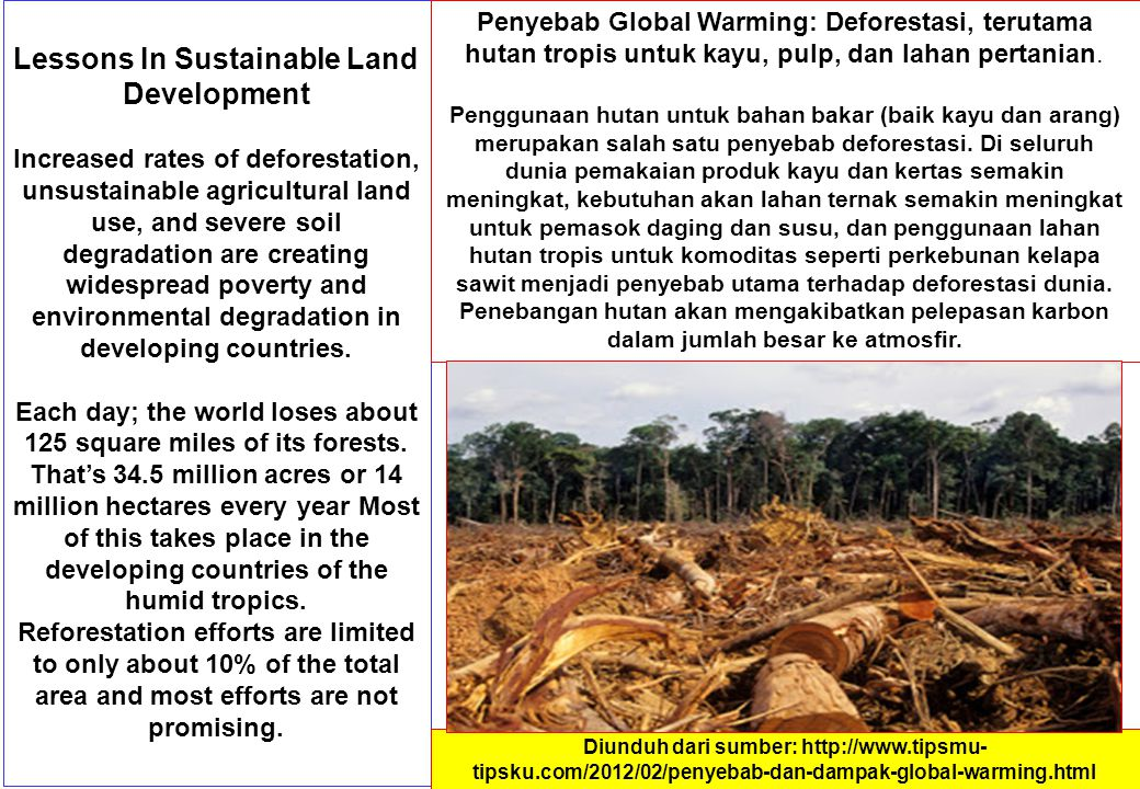 Lessons In Sustainable Land Development Increased rates of deforestation, unsustainable agricultural land use, and severe soil degradation are creatin