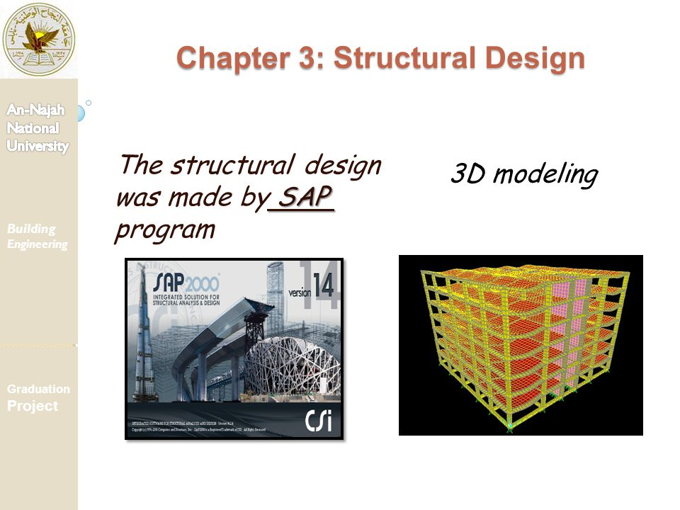 SAP The structural design was made by SAP program 3D modeling Chapter 3: Structural Design Building Engineering Graduation Project