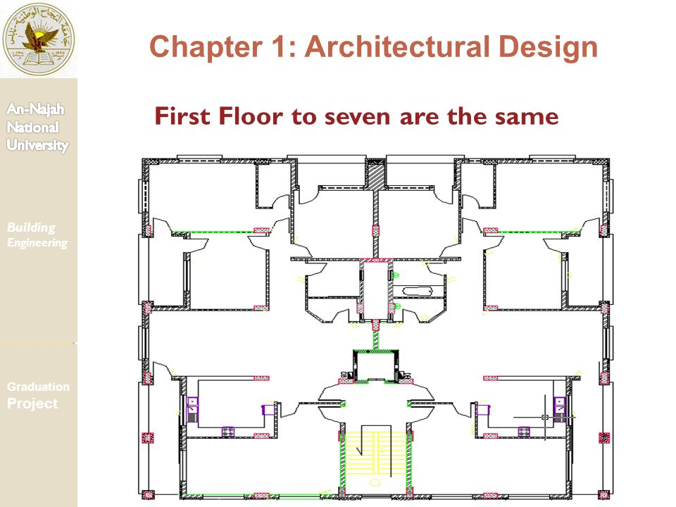 First Floor to seven are the same Chapter 1: Architectural Design Building Engineering Graduation Project
