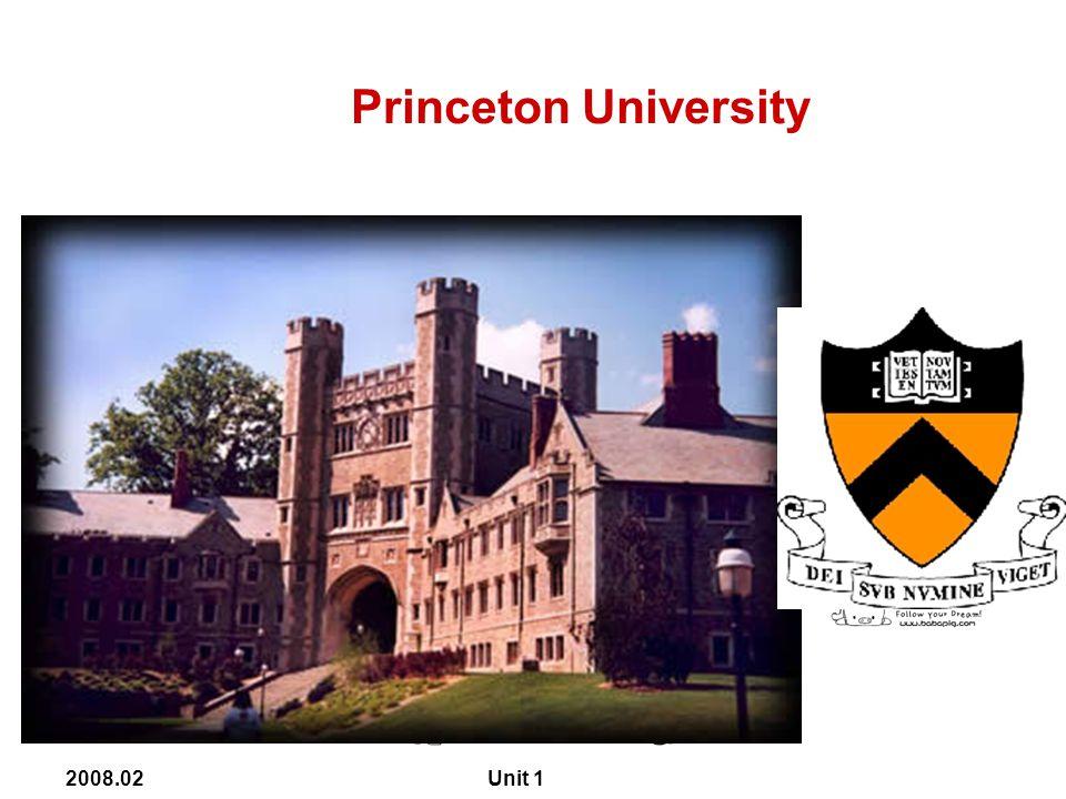 2008.02 Unit 1 Princeton University
