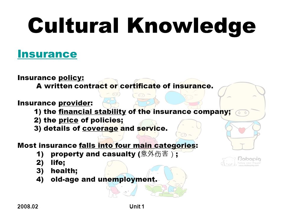 2008.02 Unit 1 Cultural Knowledge Insurance Insurance policy: A written contract or certificate of insurance.