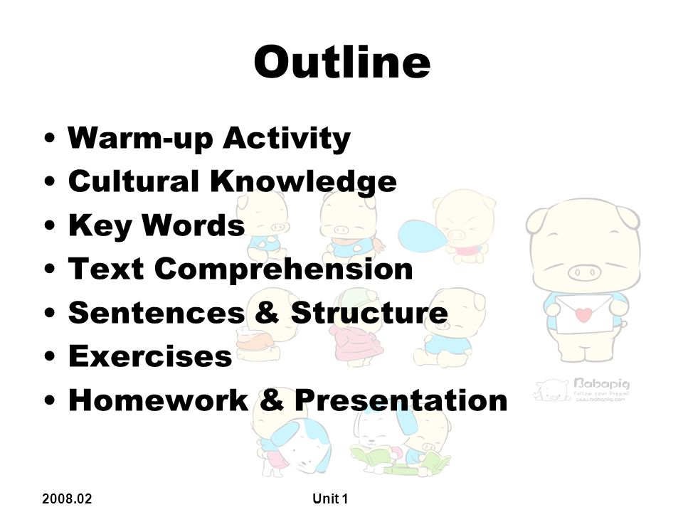 2008.02 Unit 1 Homework & Presentation 1 P 20.Structure 1.