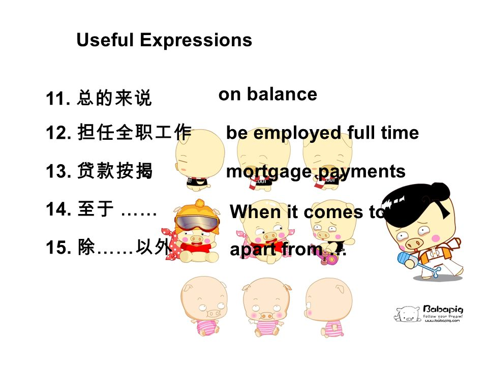 11. 总的来说 on balance 12. 担任全职工作 be employed full time 13.