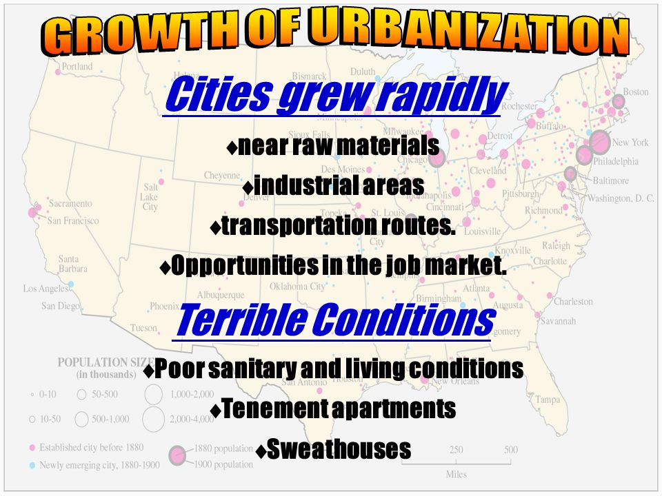 In 1860 no American city could boast a million inhabitants. 1890, New York, Chicago and Philadelphia had spurted past the million mark. In 1860 no Ame