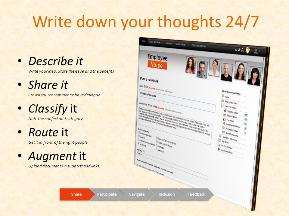 Write down your thoughts 24/7 ShareParticipateNavigateInclusionFeedback Describe it Write your idea.