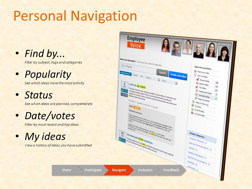 Personal Navigation ShareParticipateNavigateInclusionFeedback Find by...