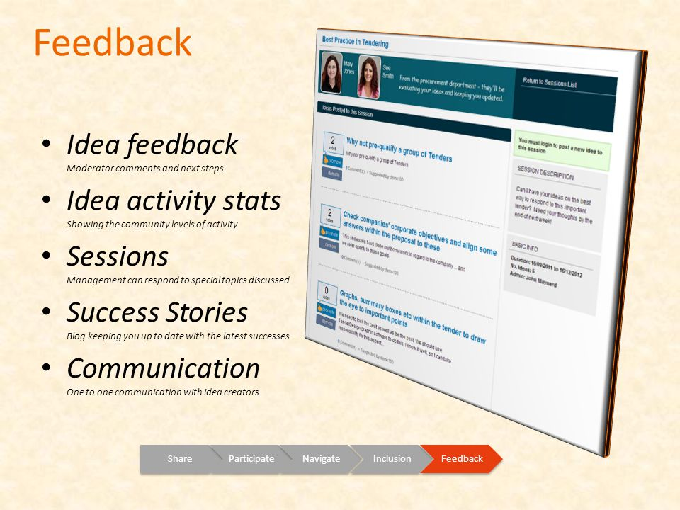 Feedback ShareParticipateNavigateInclusionFeedback Idea feedback Moderator comments and next steps Idea activity stats Showing the community levels of activity Sessions Management can respond to special topics discussed Success Stories Blog keeping you up to date with the latest successes Communication One to one communication with idea creators