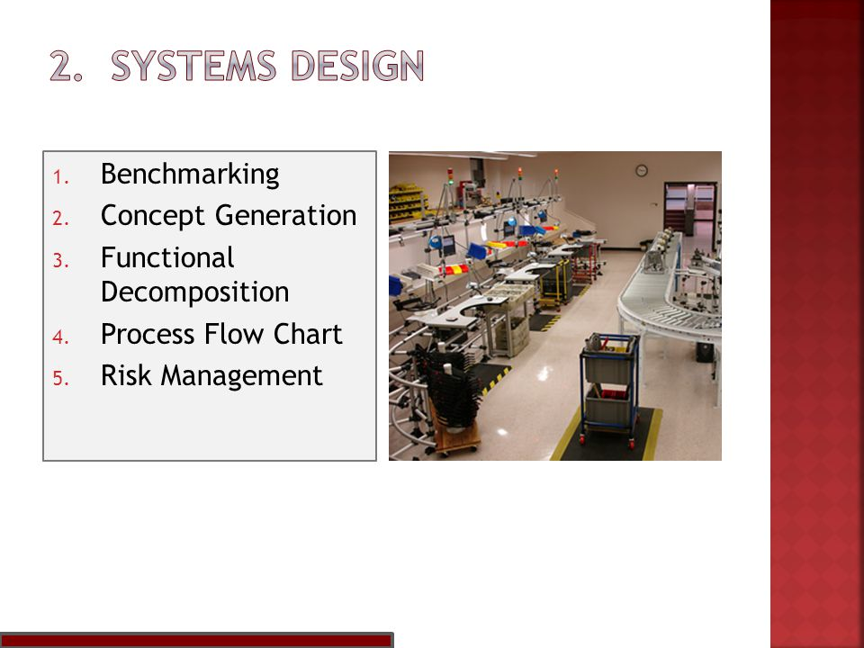 1. Benchmarking 2. Concept Generation 3. Functional Decomposition 4.