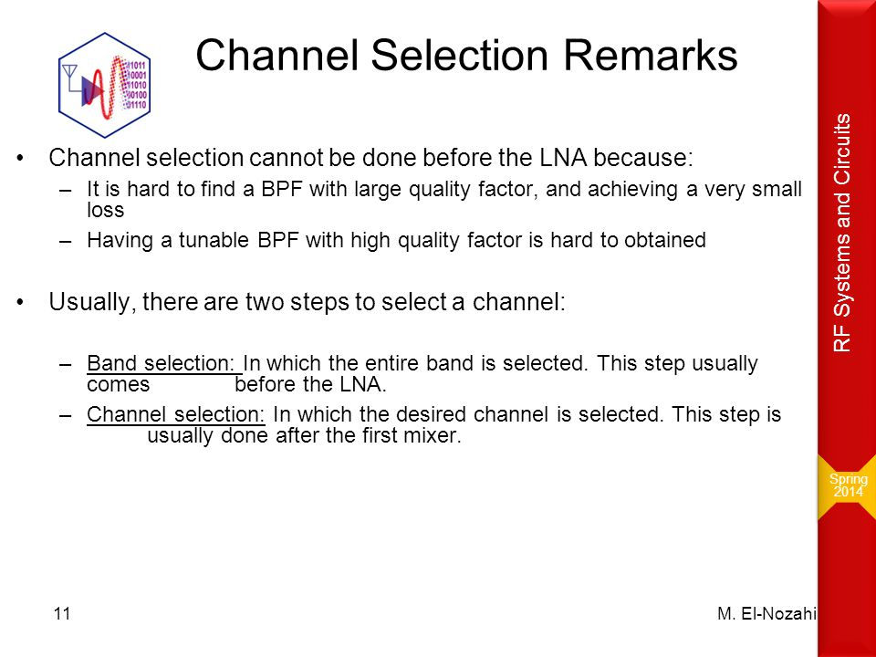 Channel Selection Remarks Channel selection cannot be done before the LNA because: –It is hard to find a BPF with large quality factor, and achieving