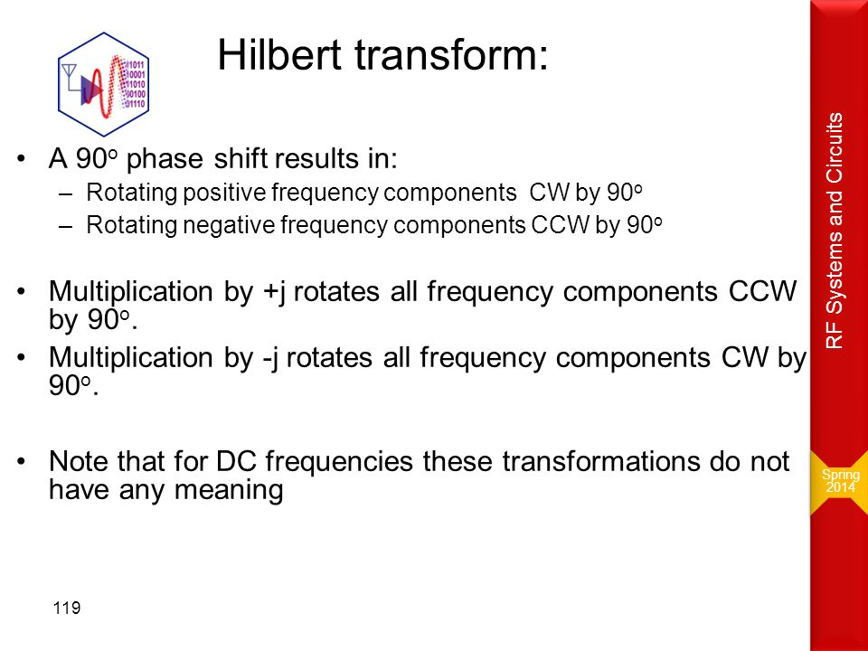 Hilbert transform: A 90 o phase shift results in: –Rotating positive frequency components CW by 90 o –Rotating negative frequency components CCW by 90