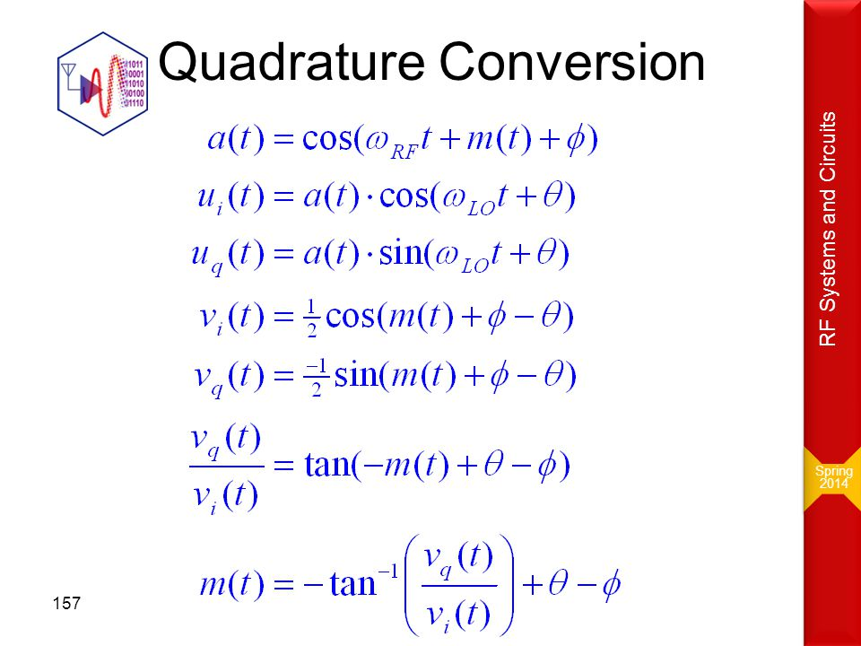 Quadrature Conversion Spring 2014 Spring 2014 RF Systems and Circuits 157