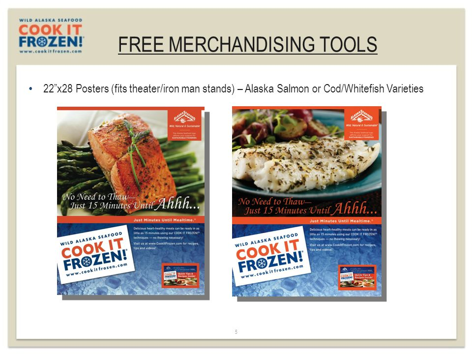 """FREE MERCHANDISING TOOLS 5 22""""x28 Posters (fits theater/iron man stands) – Alaska Salmon or Cod/Whitefish Varieties"""