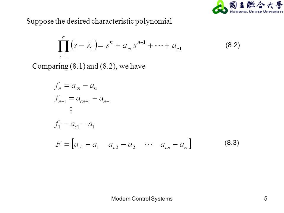 Modern Control Systems5 Comparing (8.1) and (8.2), we have Suppose the desired characteristic polynomial (8.2) (8.3)
