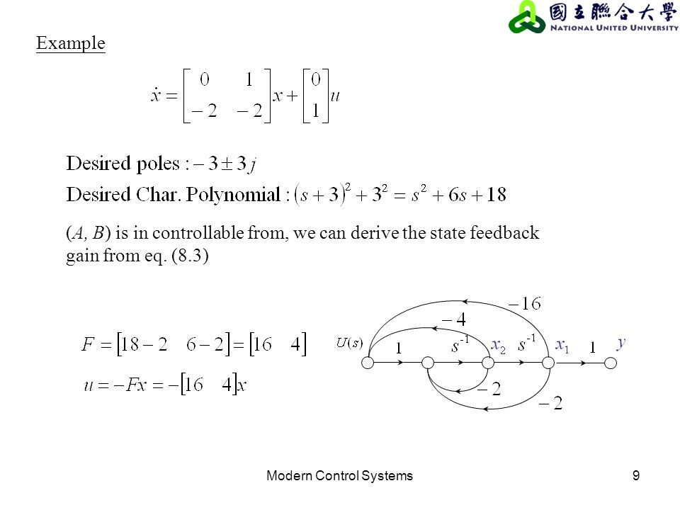 Modern Control Systems9 Example (A, B) is in controllable from, we can derive the state feedback gain from eq. (8.3)