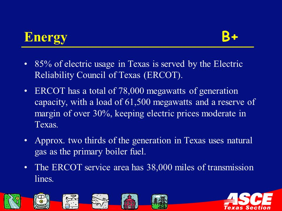 Energy B+ 85% of electric usage in Texas is served by the Electric Reliability Council of Texas (ERCOT).