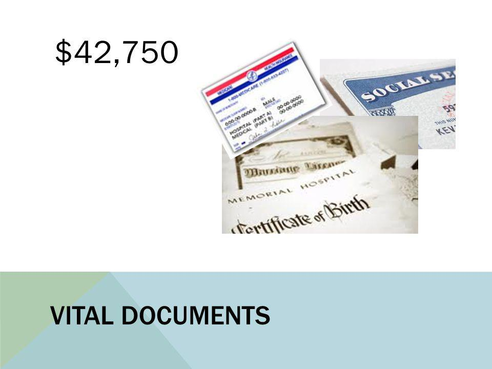VITAL DOCUMENTS $42,750