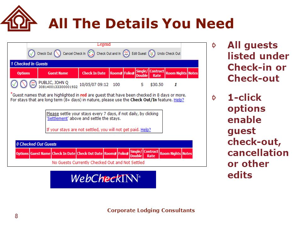 8 Corporate Lodging Consultants All The Details You Need All guests listed under Check-in or Check-out 1-click options enable guest check-out, cancell