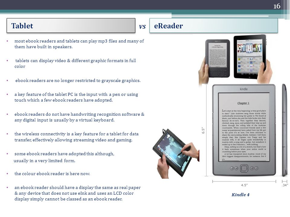 Tablet eReader most ebook readers and tablets can play mp3 files and many of them have built in speakers.