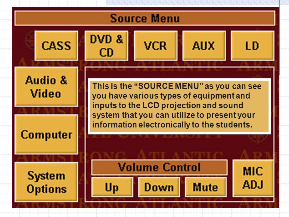 "This is the ""SOURCE MENU"" as you can see you have various types of equipment and inputs to the LCD projection and sound system that you can utilize to"