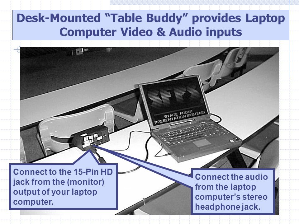"Connect the audio from the laptop computer's stereo headphone jack. Desk-Mounted ""Table Buddy"" provides Laptop Computer Video & Audio inputs Connect t"
