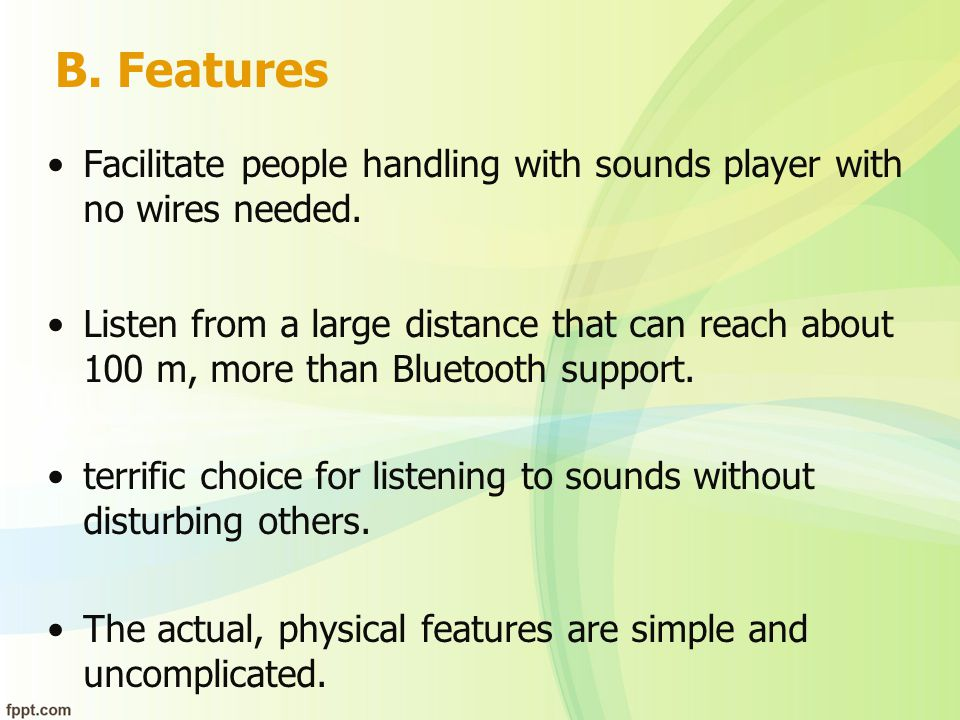 Features cont.User friendly sounds player application.