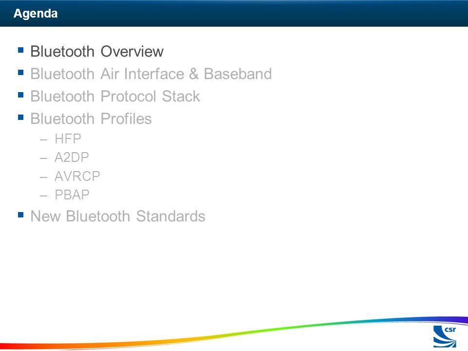Agenda  Bluetooth Overview  Bluetooth Air Interface & Baseband  Bluetooth Protocol Stack  Bluetooth Profiles –HFP –A2DP –AVRCP –PBAP  New Bluetooth Standards